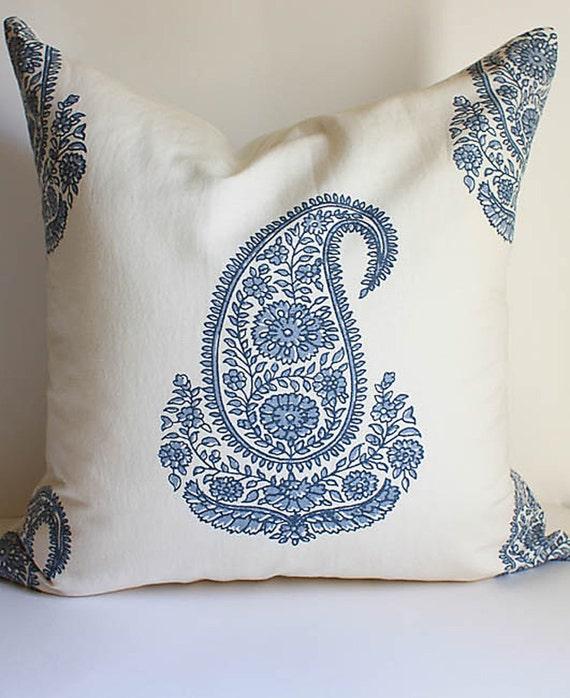 Paisley Block Print Pillow Cover 20x20 Classic Indian Motif