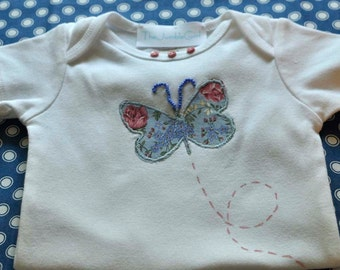 Onesie with Appliqued Butterfly, Beads, Paint and Buttons