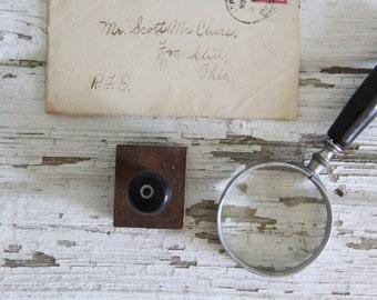 vintage letterpress hand stamp ink print block alphabet letter O