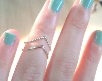 Chevron rings, Silver rings, silver chevron, midi rings, stacking rings, rope rings, knuckle rings, silver midi rings, silver stack