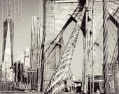 NYC Brooklyn Bridge and One World Trade Center Photography Print, New York City Black and White Wall Art