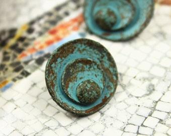 Patina Metal Buttons - Rounds Layer Oval Green Patina Metal Shank Buttons - 0.71 inch - 6 pcs
