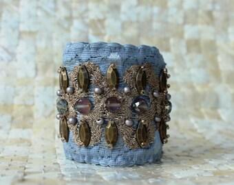 Boho Lace Cuff - Dusk Blue