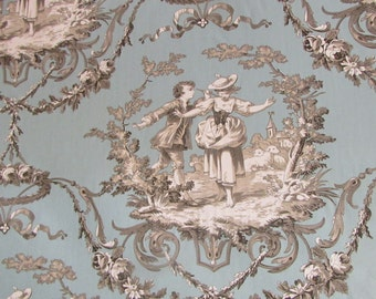 SWEET WILLIAM light Sea Blue toile print fabric