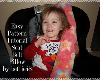 Car Seat Belt Pillow Pattern, Tutorial, pdf. Toddler and Kid Size