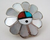 Vintage Mens Hopi Indian Sterling Silver Mother of Pearl Inlay Tie Tack Pin