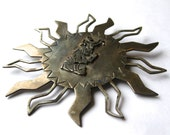 Vintage 50s 60s Silver Mexican Mayan Abstract Sun Large Necklace Pendant