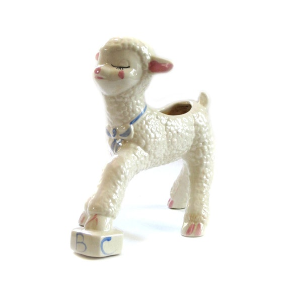 Vintage Stoneware Planter White Baby Lamb on ABC Block