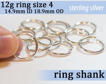 1 piece 12g ring shank US size 4 sterling silver jump rings 12gsize3 jumprings 925 links