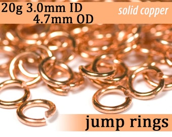 20g 3.0 mm ID 4.7 mm OD copper jump rings -- 20g3.00 open jumprings links