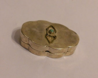 Antique Mexico Silver and Turquoise Snuff Box dating to the Mexican Revolution 1910