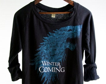 Game of Thrones Shirt. Woman's Off-the-Shoulder Slouchy Pullover. House Stark Direwolf Shirt w/ Words Winter Is Coming. Game of Thrones Tee