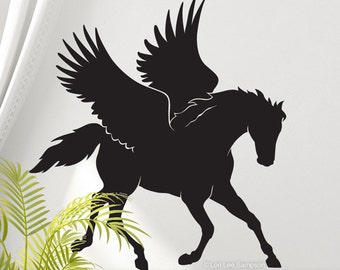 Pegasus Horse Decor - Horse Wall Decal - Horse Wall Art - Vinyl Wall Decal Horse - Greek Mythology Pegasus Flying Horse