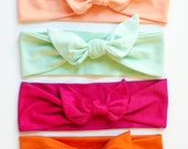 Back to School Set of Four CHOOSE YOUR COLOR Jersey Knit Knotted Bow Headband/Headwrap Baby Toddler Child Adult
