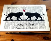 Black Jaguar Sweet Love Wedding Anniversary Engagement Valentine Gift Personalized Art Print on Antique 1896 Dictionary Book Page