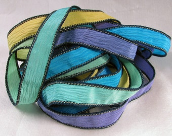 Hand Dyed Silk Ribbons - Crinkle Silk Jewelry Bracelet Fairy Ribbon - Quintessence - Serendipity