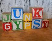 "Children's vintage wooden block letters ""Junk Gypsy"" home decor"