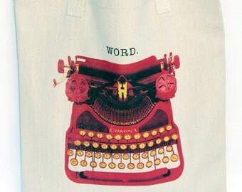 "Vintage Typewriter, Graphic Tote - ""WORD."" Reusable bag, bring your own bag shopping"