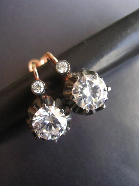Stud Earring  rose gold antique mid century antique diamond  inspired sterling