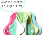 cloth pads /  bamboo and organic cotton / LIGHT flow set of six