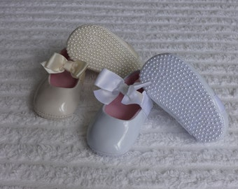 White or Ivory Precious PEARL Bottom Baby Shoes Great for Christening/Baptism or Wedding