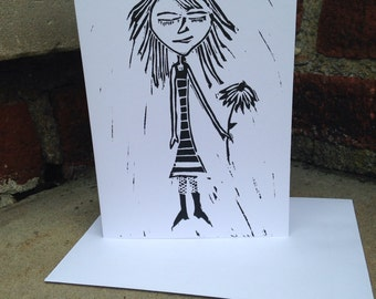 Linocut Card of a Girl with a Flower