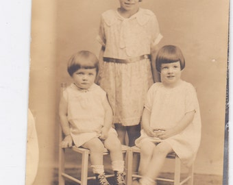 Three Children - Vintage Photograph, Vernacular, Found Photo, Ephemera  (XX)
