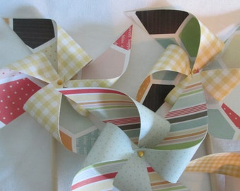 Pinwheels in Summery Bright Bee Honeycomb Designs Set of 10 Pinwheels for a Birthday Party or a Baby Shower or a Bat Mitzvah or Wedding