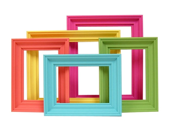 Items similar to picture frames bright colors home decor picture frame set nursery kids retro - Designs in glasses for house decoration ...