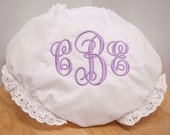 White Diaper Cover Bloomers Light Purple Monogram Personalized Diaper Cover