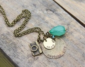 NEWantique gold with a vintage vibe... Capture Life. Snap On. with beautiful large green crystal drop and tiny teal drop