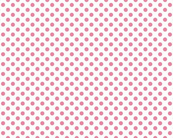 Dots Hot Pink on White Small by RBD Designers for Riley Blake, 1/2 yard