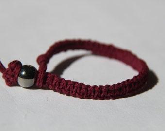 Dark Red Hemp Bracelet