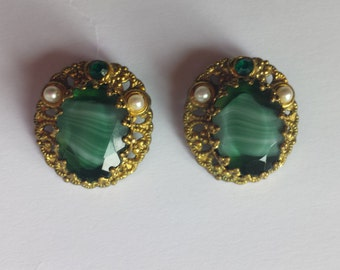 Western Germany Glass Cabochon Earrings and Pendant