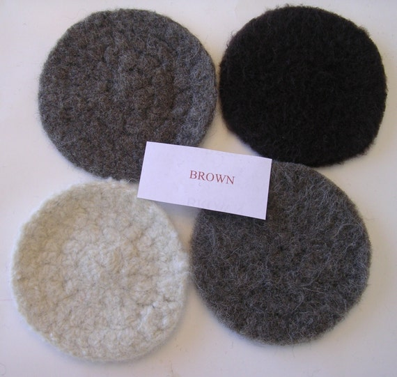 """50 % -"""" MAYSALE""""code,4 Coasters Hand Knitted  and  Felted wool in many colors, SET OF 4"""