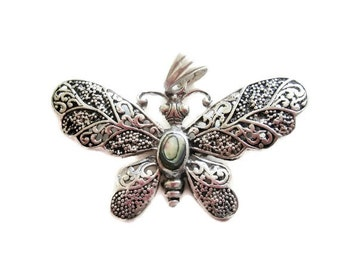 Silver and AbaloneFilagree Butterfly Pendant
