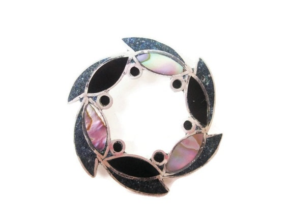 Vintage Sterling Silver Mother of Pearl and Abalone Circle Pendant/ Circle of Life Brooch Pendant