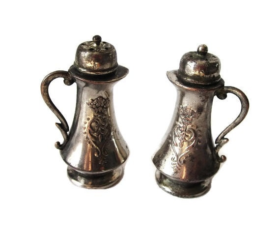 Antique Silver Salt and Pepper Shakers - 1930's