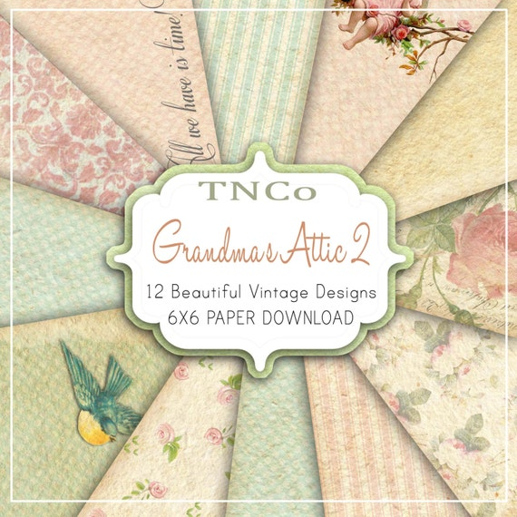 TNCo 12 6x6 Vintage Style Papers Call Grandma's Attic 2