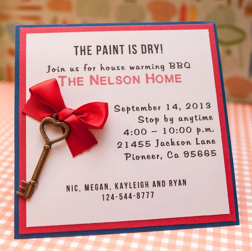 House warming party invitation with key by embellishedpaper for Creative housewarming party ideas