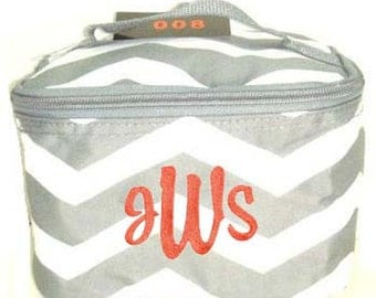Personalized Cosmetic Case , Bag Siler and White Chevron Pattern Design Free Shipping