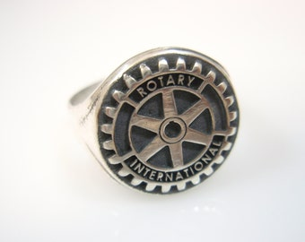 Rotary International  Rotary club crest  Sterling Silver 925 man ring