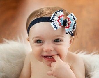 Baby headband, 4th of July baby headband, Patriotic baby headband, red white and blue headband, chevron headband