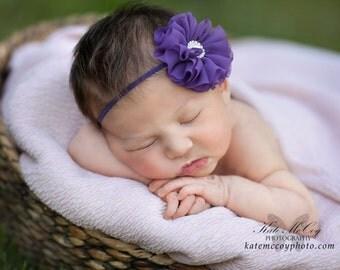 Purple headband, purple newborn headband, infant headband, photo prop, purple flower headband, purple chiffon flower, purple hairband