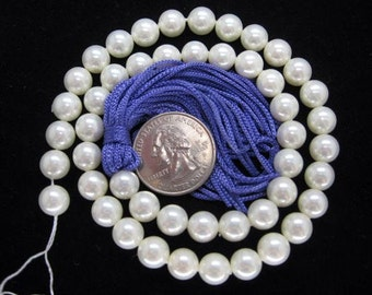 8mm White South Sea Shell Pearl Beads - 16 Inch Strand