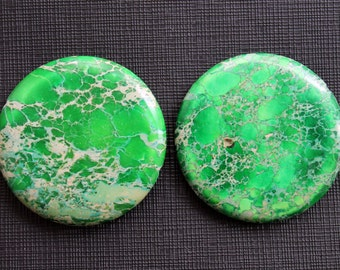 2 Pcs Jumbo Yellow Green Variscite Sea Sediment Jasper Round Disc Beads