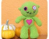 zombie crochet plush doll in lime green cotton stuffed handmade amigurumi
