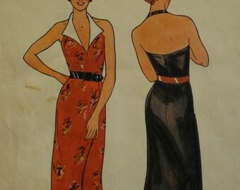 "Classy Halter Dress Pattern, Flip Back Collar, Fitted Bodice, Mock Wrap Straight Skirt, Vintage, Butterick No.6567 Size 10 Bust 32.5"" 83cm"