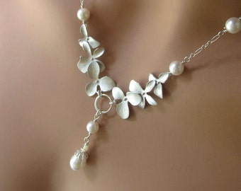 Silver Orchid Wedding Necklace Swarovski Pearl Drop Womens Bridal Jewelry Gift