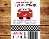 Disney Cars Birthday Party Invitation; Printable Lightening McQueen Invitation; Digital File